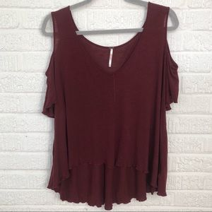 Free People Red Cold Shoulder Top